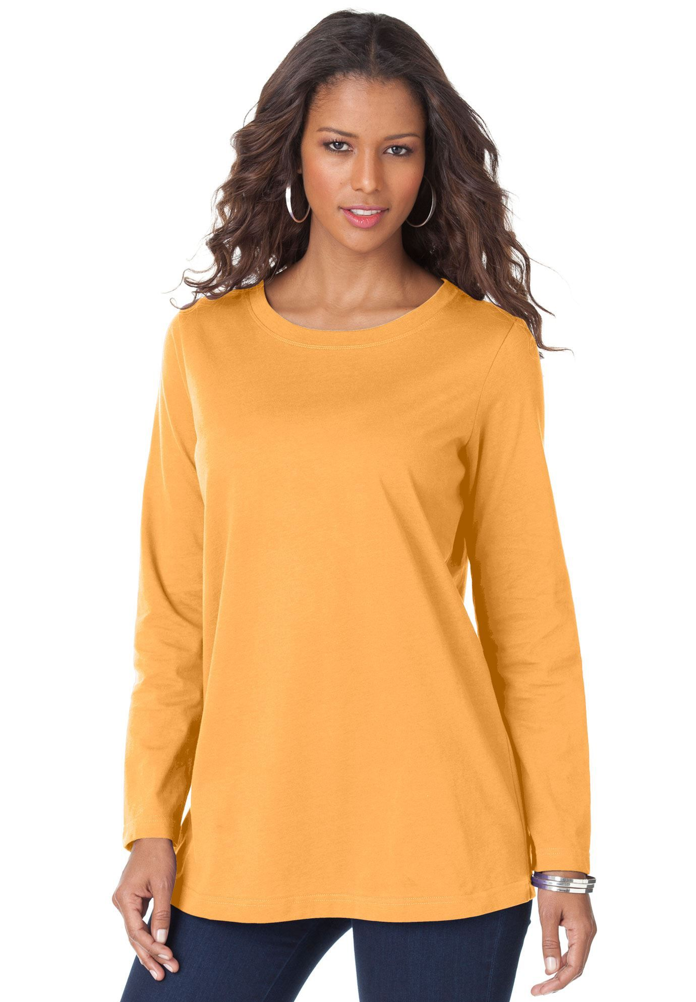 33a10e89d61 Shop for Crew Neck Long Sleeve Ultimate tee and more Plus Size Long Sleeve  from Roamans.