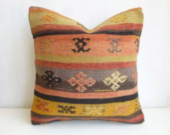 39 usd Yellow Turkish Kilim Pillow with Colorful Ethnic Stripes, Oriental Decorative cushion Cover, Turkish Sham 16x16' 40x40cm Garden Decor