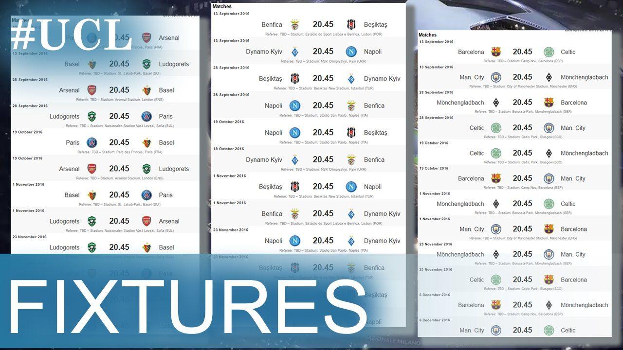 UEFA Champions League Fixtures 2016/17   FOOTBALL RESULTS