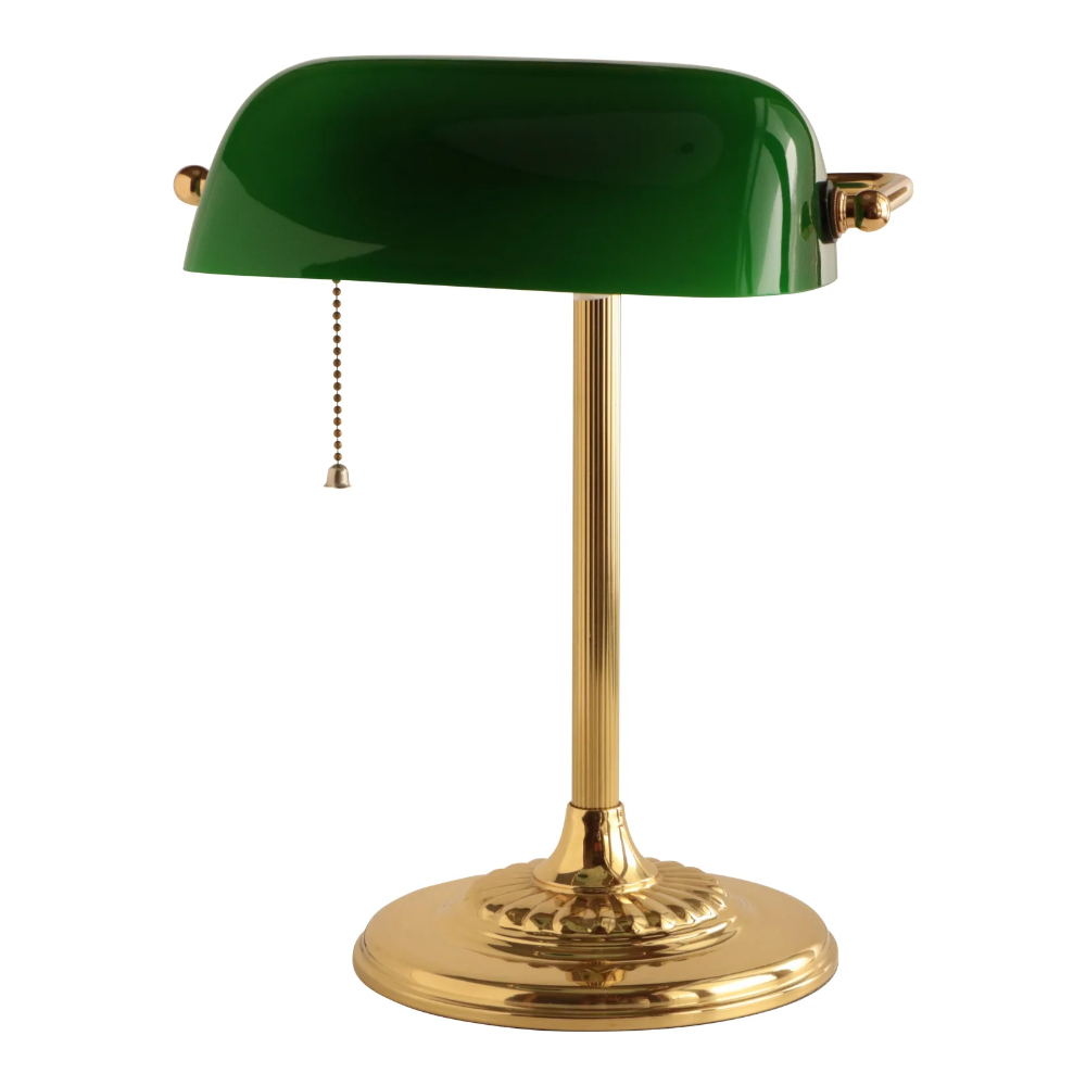 Banker S Lamp In Brass And Emerald Green Chairish Bankers Lamp Green Lamp Lamp Decor