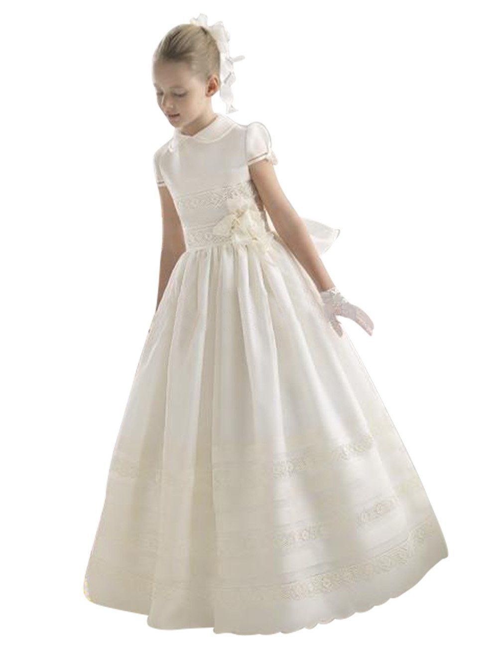 88335933af930 PinkMemory Highneck First Communion Dress for Girls 214 White 8 * You can  find more details by visiting the image link.(It is Amazon affiliate link)  # ...