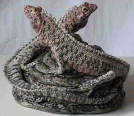 Two Lava Lizards by Jill Moger. (stoneware ceramic) 9cms x 11cms