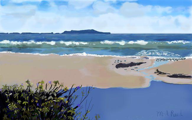 "Original Mixed Media Print of /""Channel Islands Ventura Beach/"" Sea Blue Green"