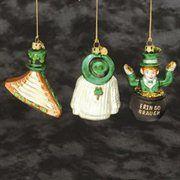 Irish Leprechaun Shamrock Glass Christmas Ornament