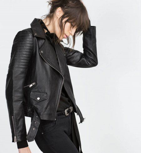 Veste en cuir noire femme zara