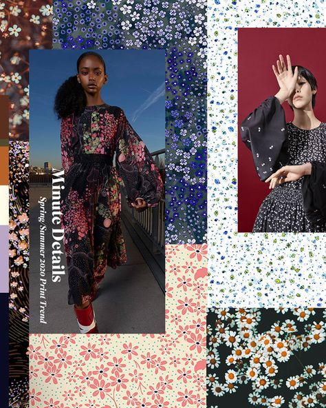 New Spring/Summer 2020 Print Trend 'Minute Details' is now live on our site.  Delicate floral detail and flowing daisy pattern make up this smart trend for Spring/Summer 2020  MICRO DETAIL / SCATTERED DAISY PATTERN / SMALL CLUSTERS / STRIPED MIXTURES / GEOMETRIC DITSY / WILD DITSY FLOWERS / PAPERWEIGHT PATTERNS  #print #pattern #trends #ss20 #springsummer2020 #ditsy #textile #contrast #surfacepattern #florals #smallscale #patternbank #MakeUpProductsFenty  #MakeUpProductsHudaBeauty  #MakeUpProduc