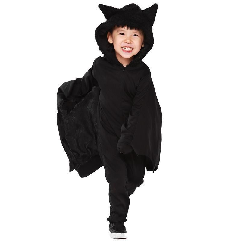 yuerlian kids black bat hooded jumpsuits halloween costume cosplay girls boys batman roleplay party cosplay uniform
