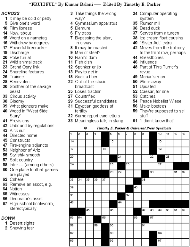 Crossword Puzzles With Fun Themes And Lively Fill To Print