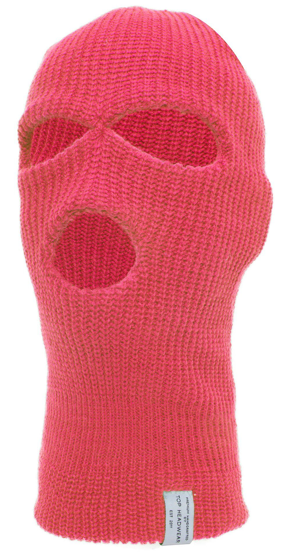 Top Headwear Three Hole Neon Colored Ski Mask H Pink One Size Fits Most 100 Acrylic Athletic Outfits Balaclava Ski Mask