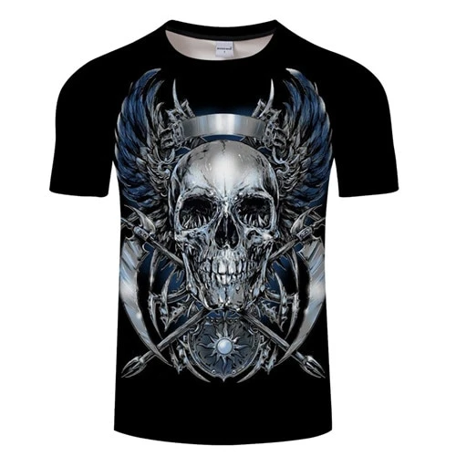 Image by Shutterstock Thick Skull With Bones Men/'s Tee