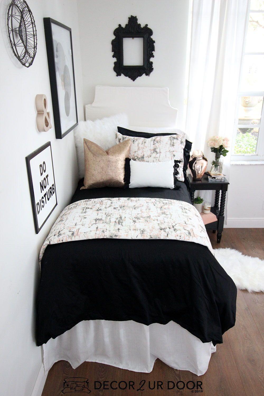 Black Rose Gold Marble Dorm Bedding Set Dorm Bedding Dorm Room Decor Dorm Bedding Sets