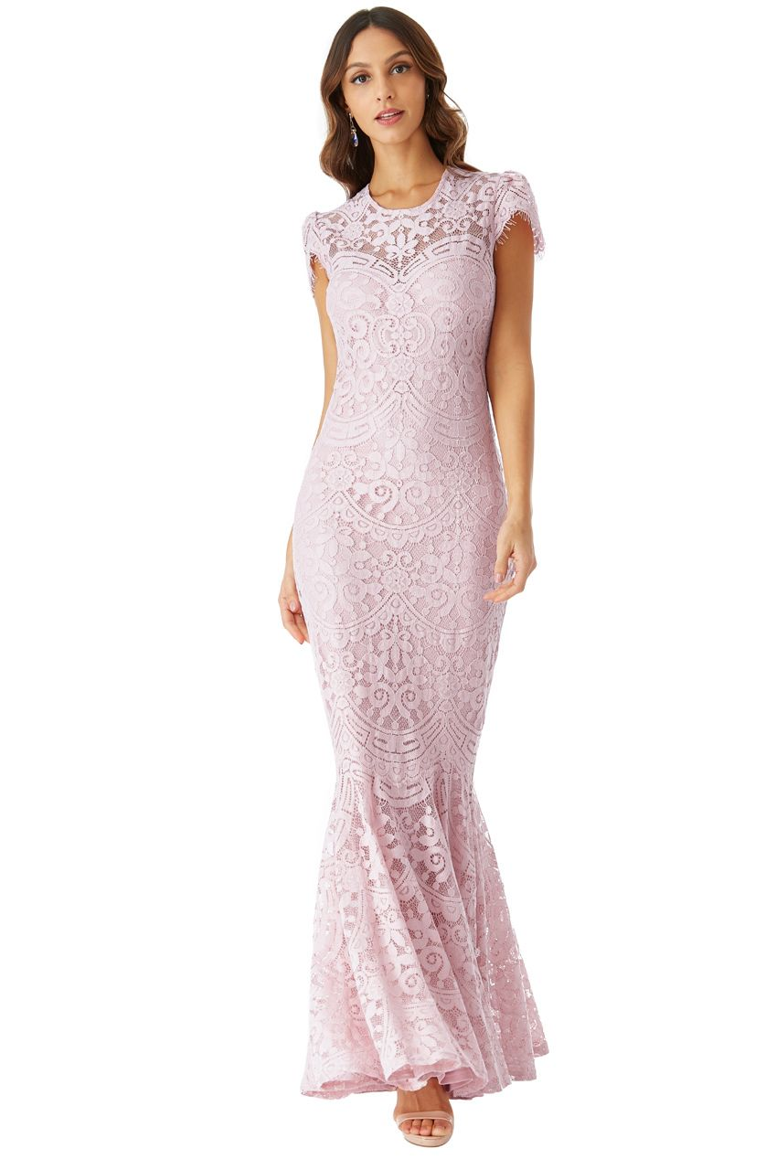 fb4b3e42f77 sophisticated maxi φόρεμα chantilly δαντέλα mermaid σε ροζ poudre ...