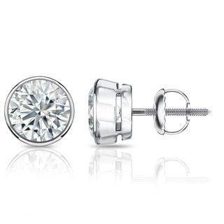 Auriya GIA Certified Platinum Bezel Setting 1.00 ct. TDW (E-F, SI1-SI2) Screw Back Round Diamond Stud Earrings