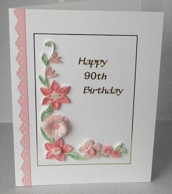 Ordinary Card Making Ideas 90th Birthday Part - 4: Quilled 90th Birthday Card, Handmade, Quilling