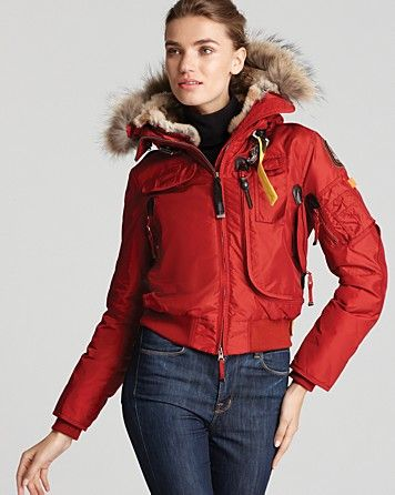 f1a728408 Parajumpers Gobi Down Bomber Jacket with Fur Hood - in Red | Baby ...