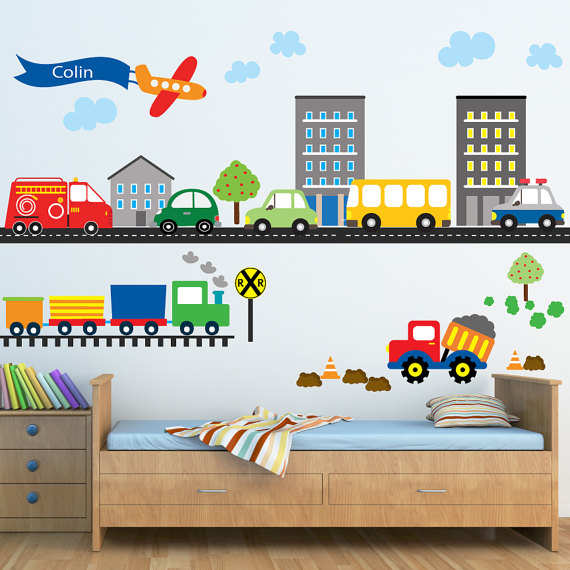 Cars Construction Airplanes Transportation Decal Reusable Decals Non Toxic Fabric Wall Decals For Kids Wd955