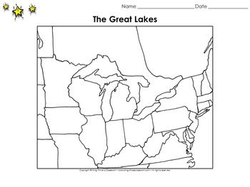 Great Lakes Map Bordering States Blank Full Page King