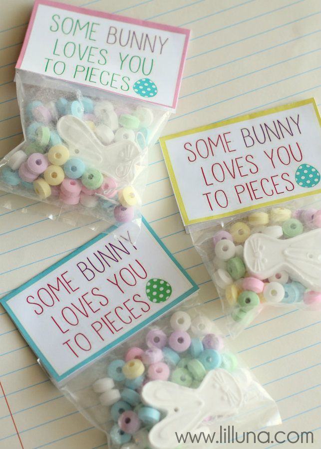 You gotta see this candy necklaces easter and bunny some bunny loves you to pieces cute easter favors on lilluna negle Choice Image