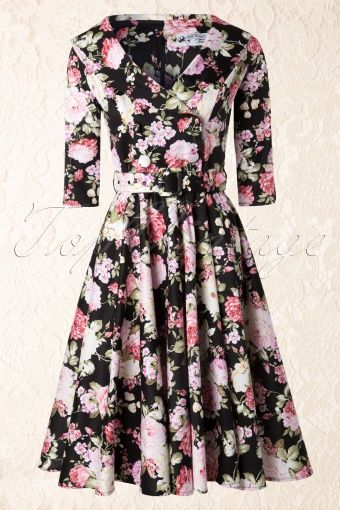 Bunny - 50s Dahlia Swing dress in Black