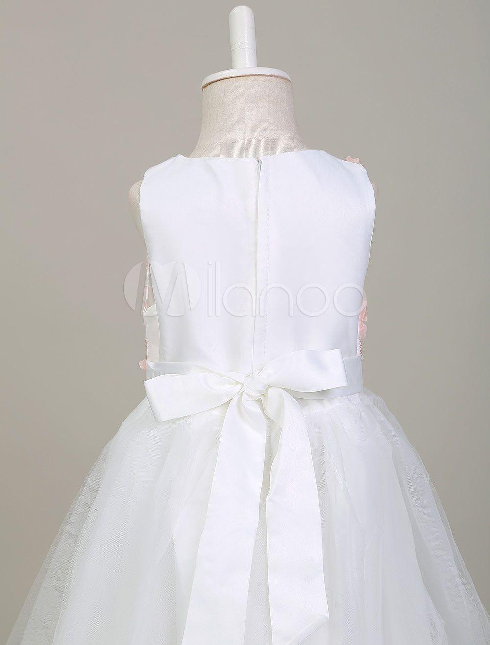57b75d334d8 Flower Girl Dresses White Round Neck Sleeveless Princess Tutu Dress Tulle  Applique Floor Length Kids  Pageant Dress  Neck