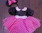 Pink Minnie Mouse dress with matching ears