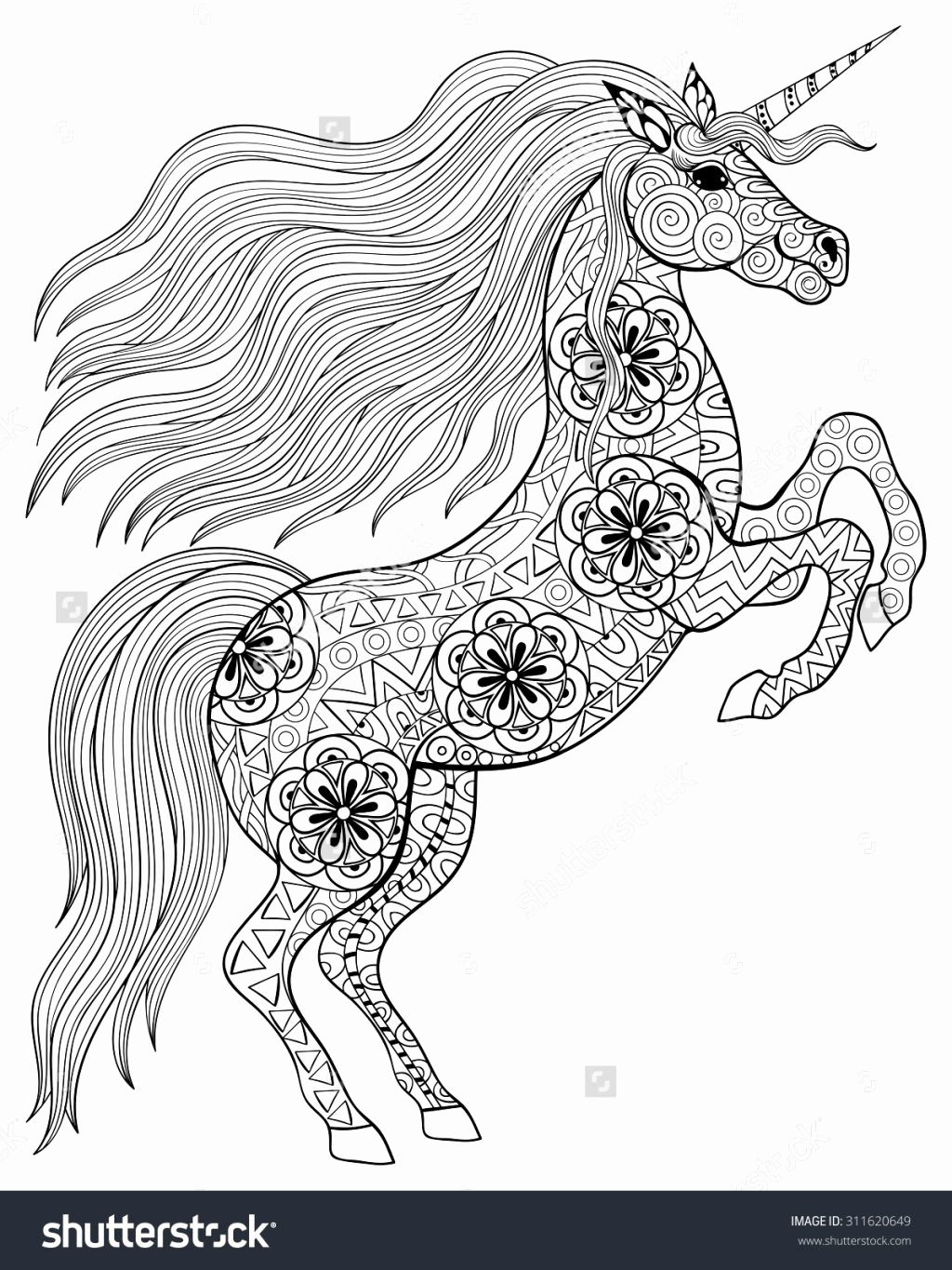 Printable Hard Beautiful Unicorn Unicorn Coloring Pages