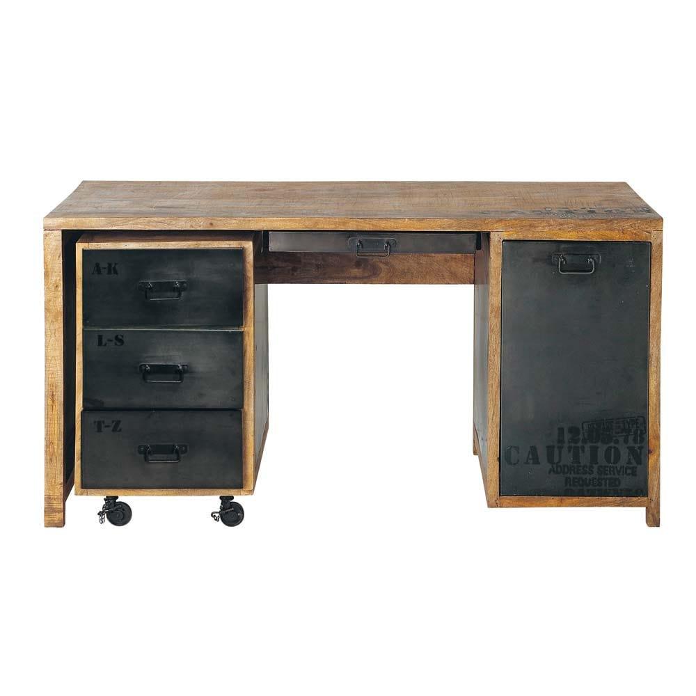 Bureau en manguier massif et métal L 150 cm | Metal desks, Desks and ...