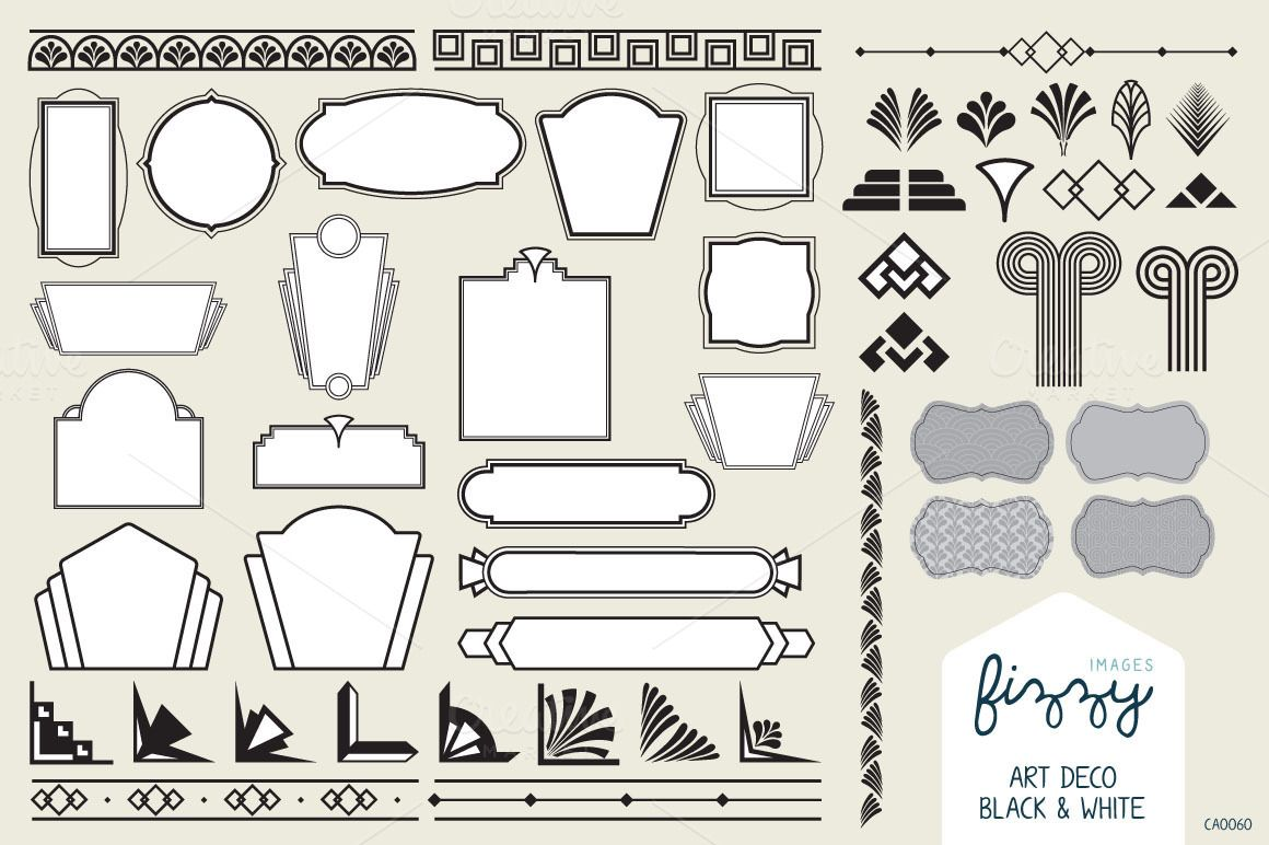 50x Art Deco Vector Elements | Art deco design, Architecture and ...