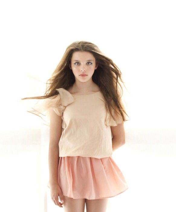Beautiful Tween Girl Model In Pale Peach And Pink Fashion Trending Kids Summer