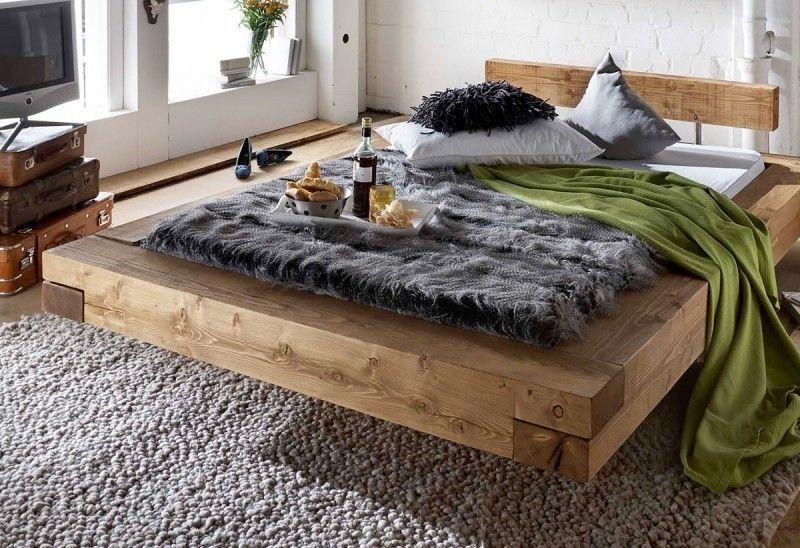 Holzbett rustikal hoch  Bett Doppelbett Balken Bett Kiefer Fichte massiv Altholz gewachst ...