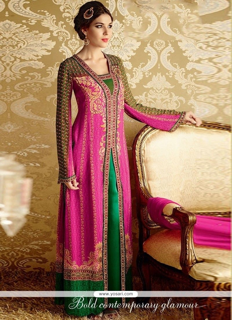 Cherubic Bamber Georgette Green And Hot Pink Resham Work Designer Suit Model  YOS3676