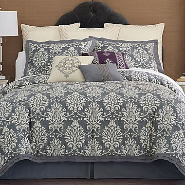Option for bedroom: Cindy Crawford Striae Damask Comforter Set & More - jcpenney