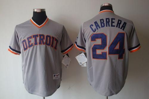 Tigers #24 Miguel Cabrera Grey 1970's Turn Back The Clock Embroidered MLB Jersey! Only $18.50USD