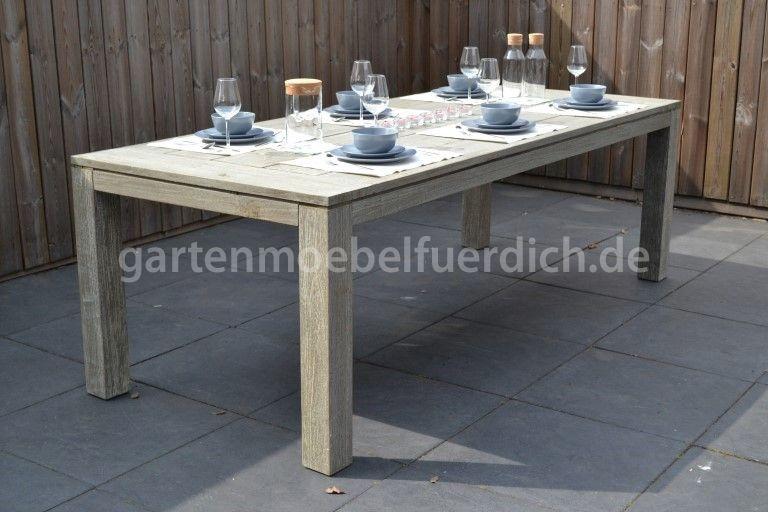 Wales Xl Akazien Gartenholztisch Grau 300 X 100 Cm Holztisch