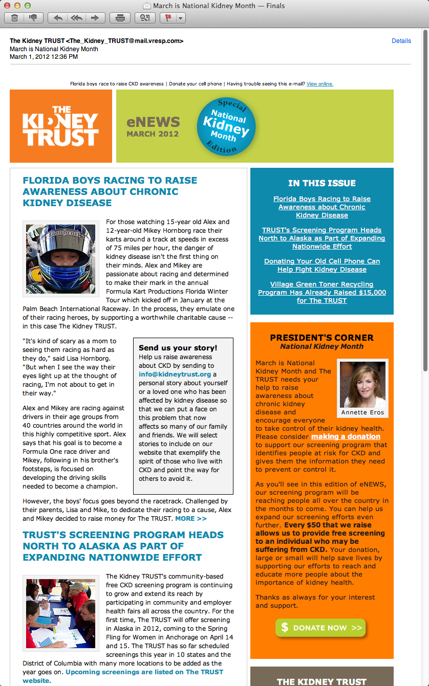 Screenshot Kidney Trust Email Newsletter  Graphic Design