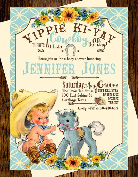 Cowboy Western Baby Shower Invitations Personalized Custom Printed