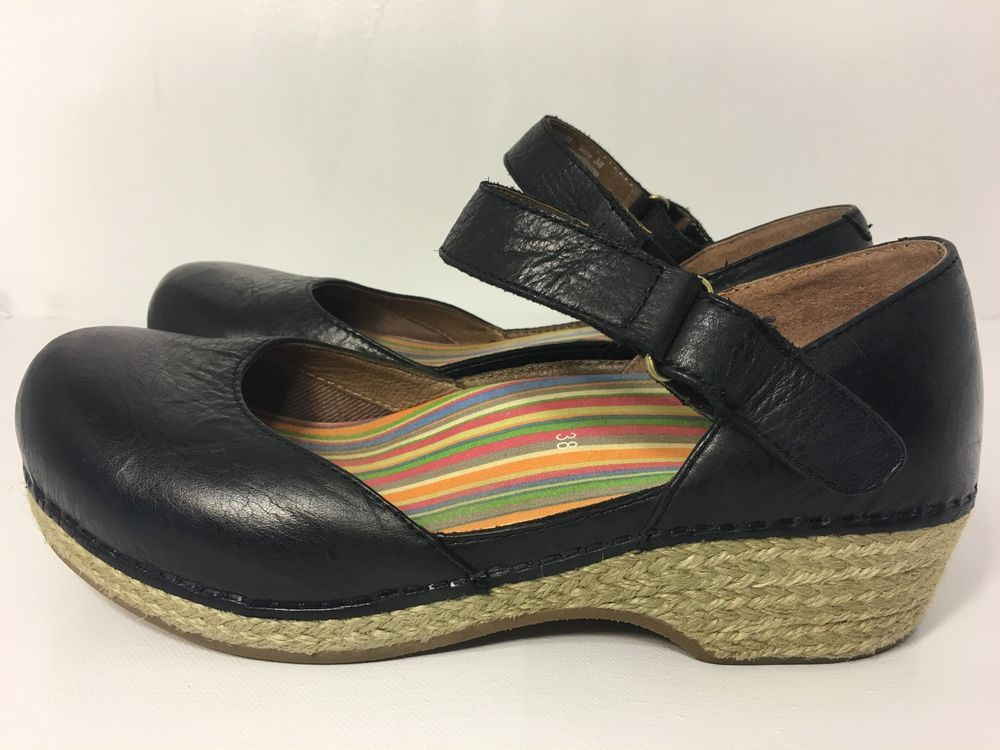 Women S Dansko Jute Maryjane Black Full Grain Size 38 Ebay