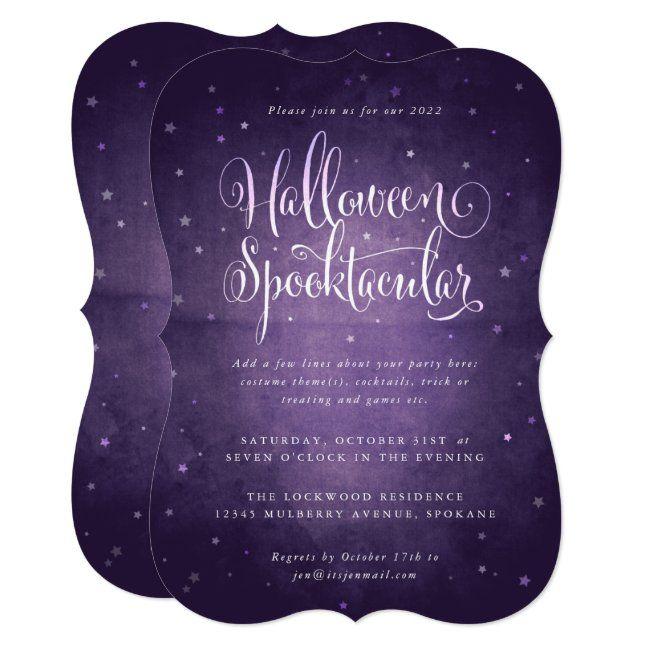 Halloween Party Adukt Spokanr 2020 Purple Vintage Stars Halloween Spooktacular Party Invitation