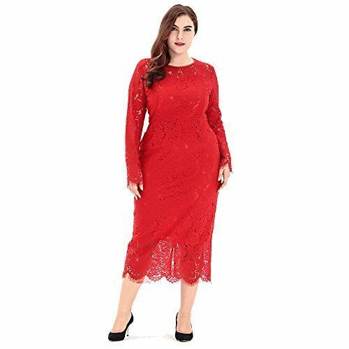 e0f0cfa0b Vestido de Fiesta Elegante de Cuello Redondo Encaje Floral de Las (44