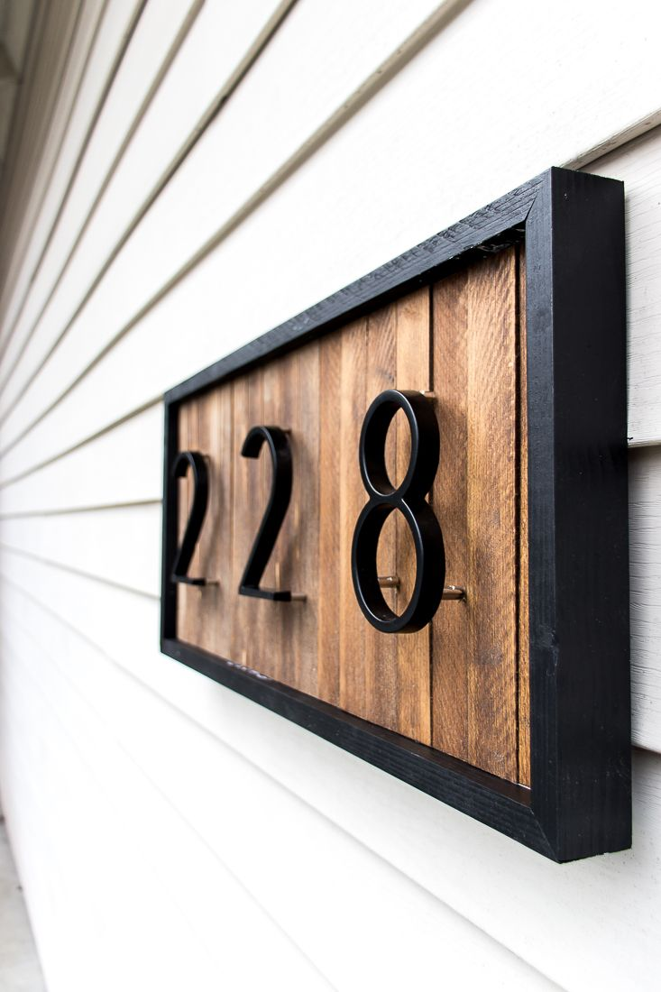 House Number Plaque Wood