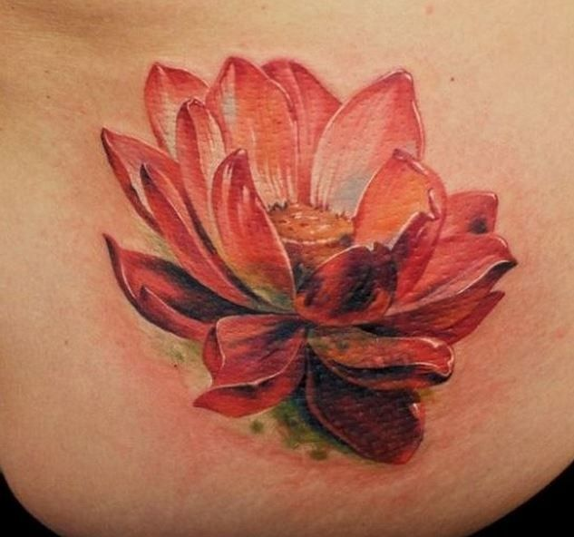 Lovely Realistic Red Lotus Tattoo Red Lotus Tattoo Pink Lotus Tattoo Lotus Flower Tattoo Design