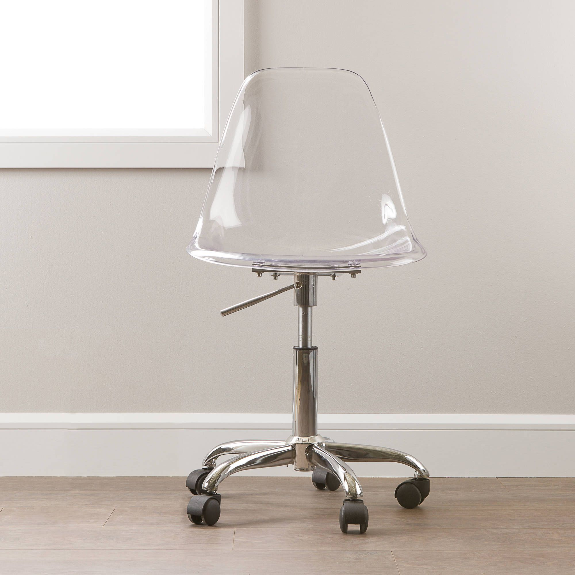 South Shore Annexe Clear Office Chair With Wheels Multiple Colors Walmart Com In 2020 Clear Office Chair Acrylic Chair Clear Desk Chair