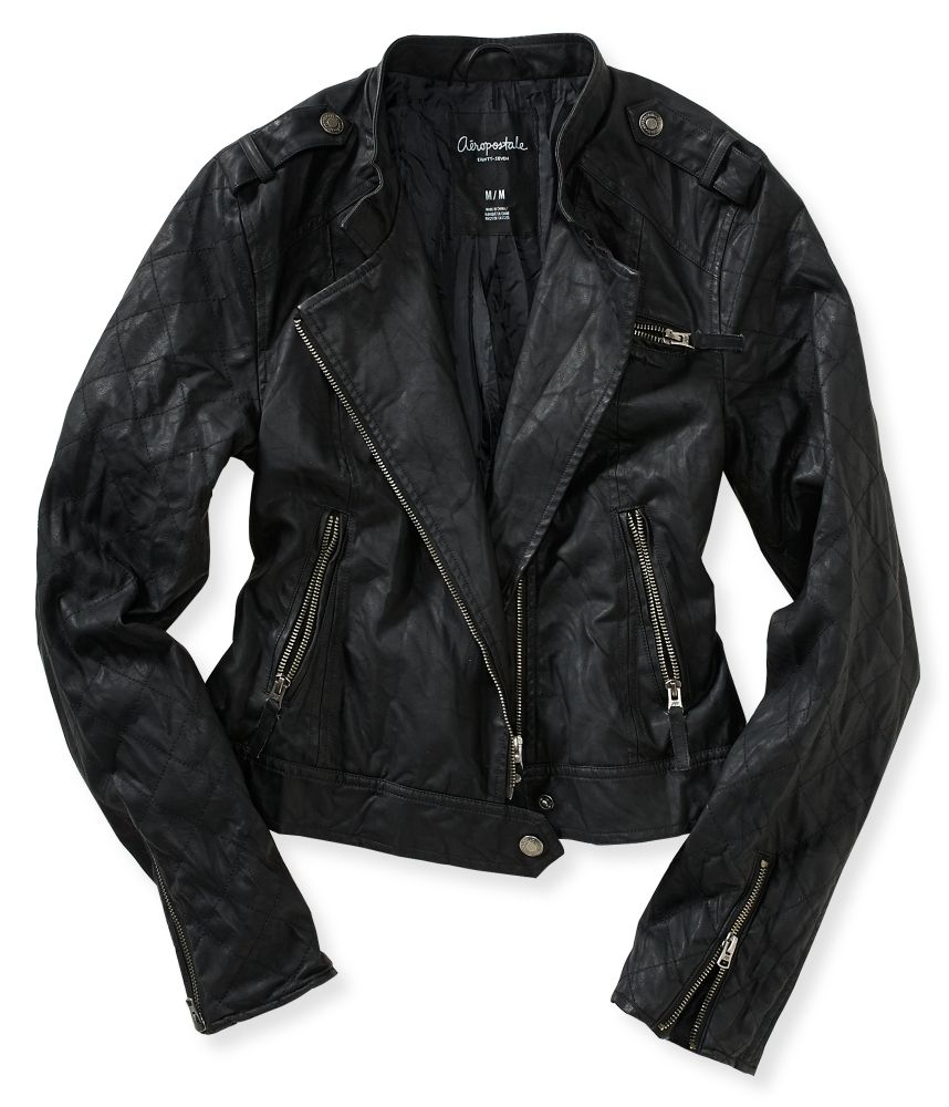 Faux Leather Quilted Sleeve Moto Jacket from Aeropostale ...