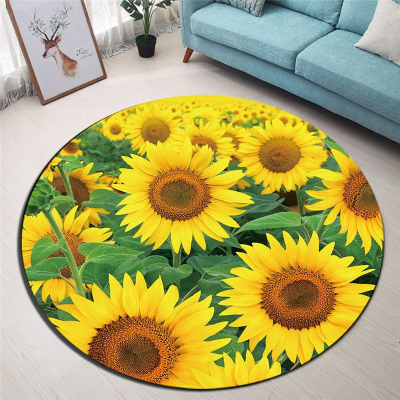 7 99 Yellow Sunflower Green Leaf Round Carpet Living Room Area Rugs Floor Mat Rugs Ebay Home Round Carpet Living Room Rugs On Carpet Living Room Area Rugs #sunflower #living #room #rug