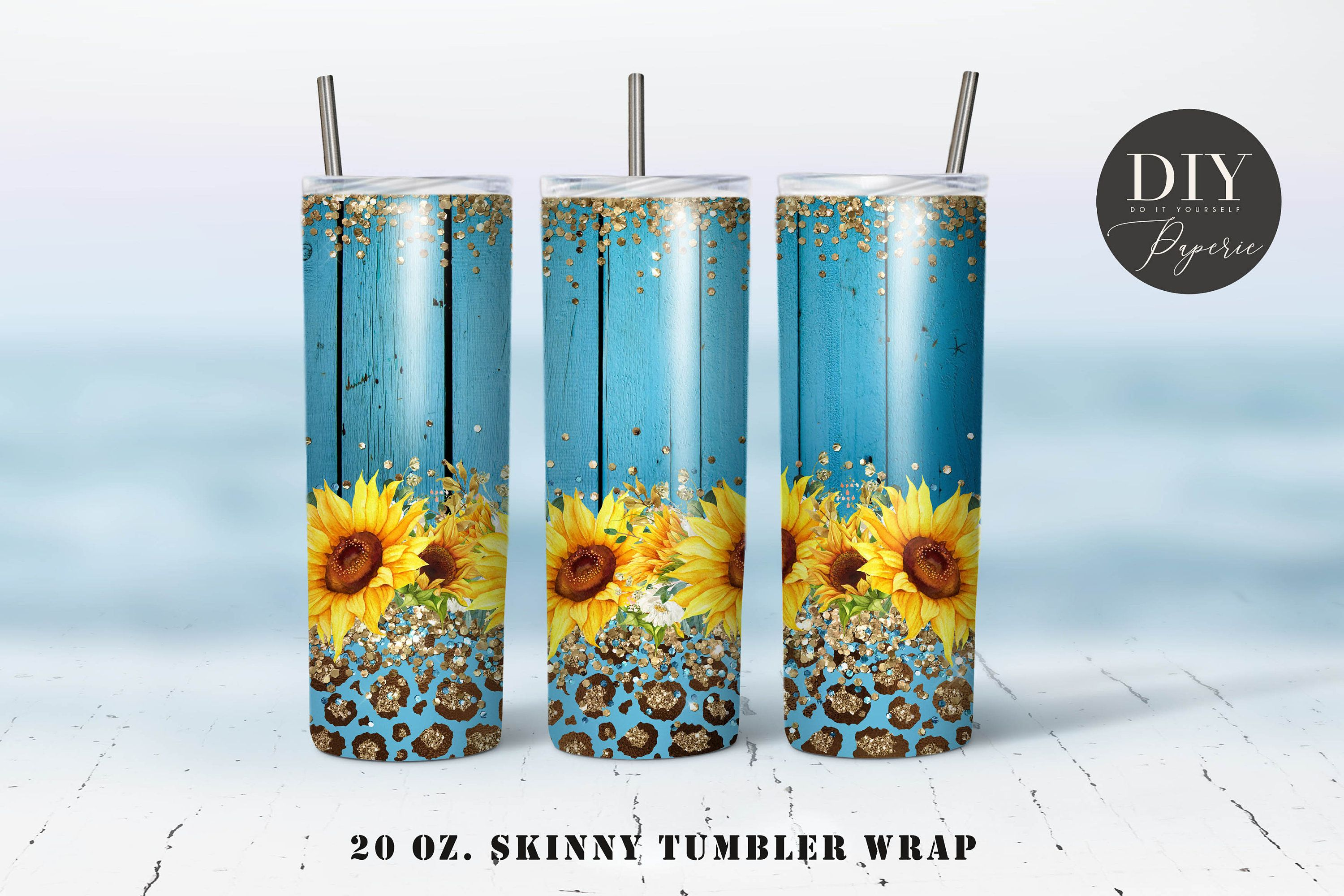 Rustic Wood Sunflower Tumbler Template Png Sublimation  20oz Skinny Tumbler Tapered and Straight Waterslide Full Wrap Digital Download