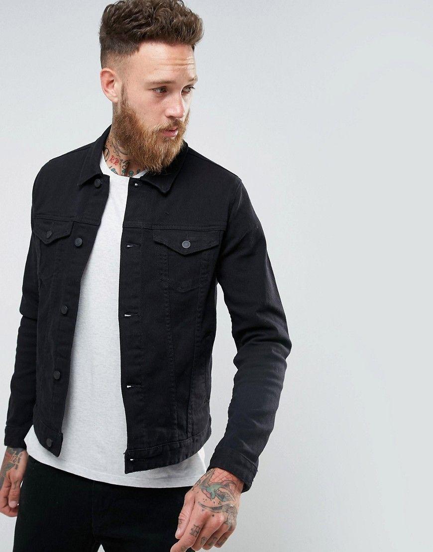 4b81340b0 DESIGN skinny denim jacket in black | Fashion | Denim, Black denim ...