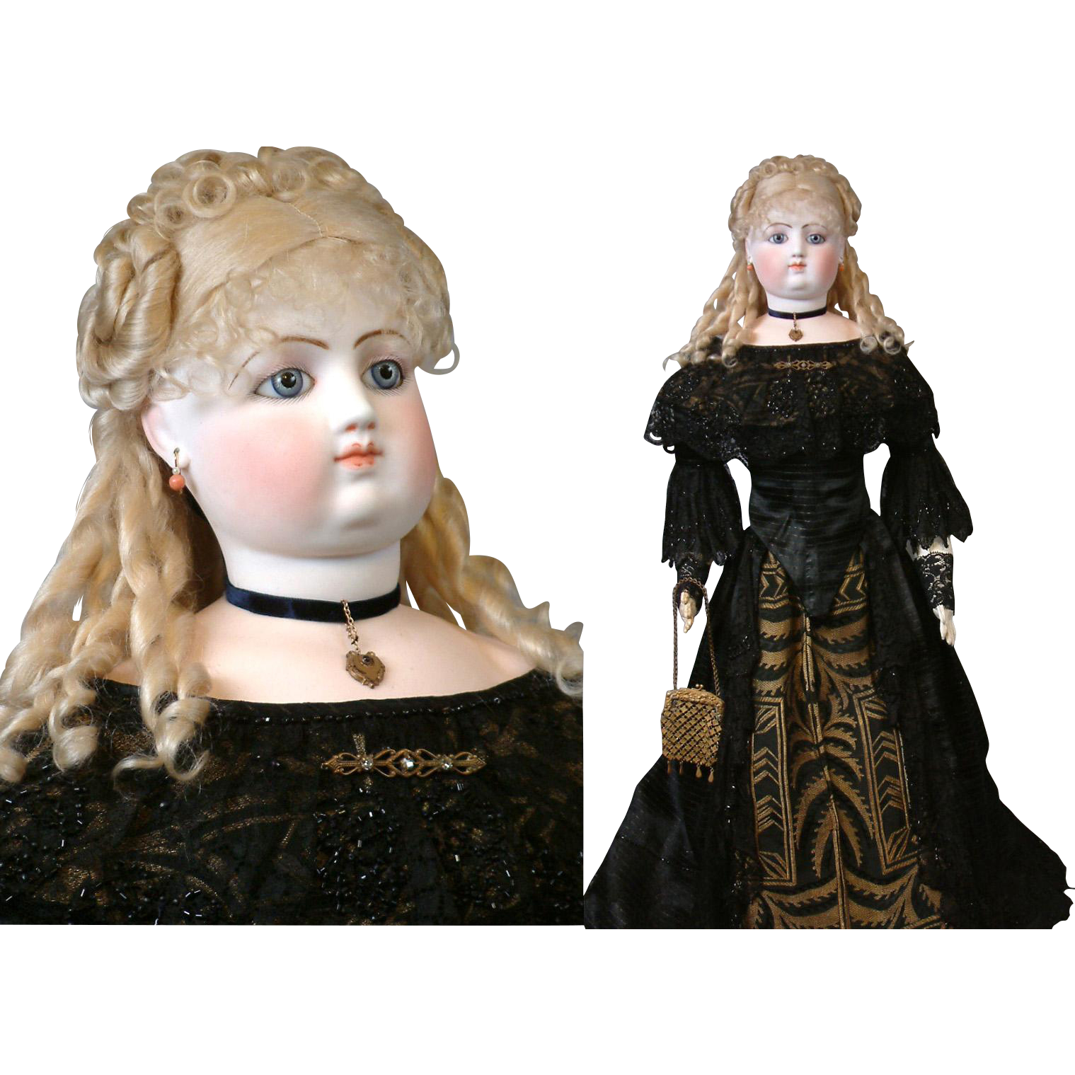 """33"""" Fashion Poupee By Gaultier For Exhibition In Antique Silk Gown - @rubylanecom Vintage & Antique Dolls #RubyLane"""