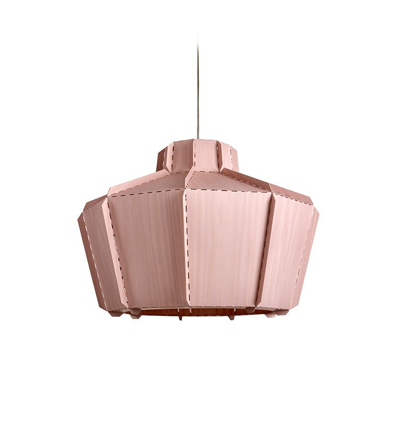 LZF Lamps |Stitches, Mopti Suspension Lamp in Pink | Wood touched by Light | Handmade Wood Lighting since 1994