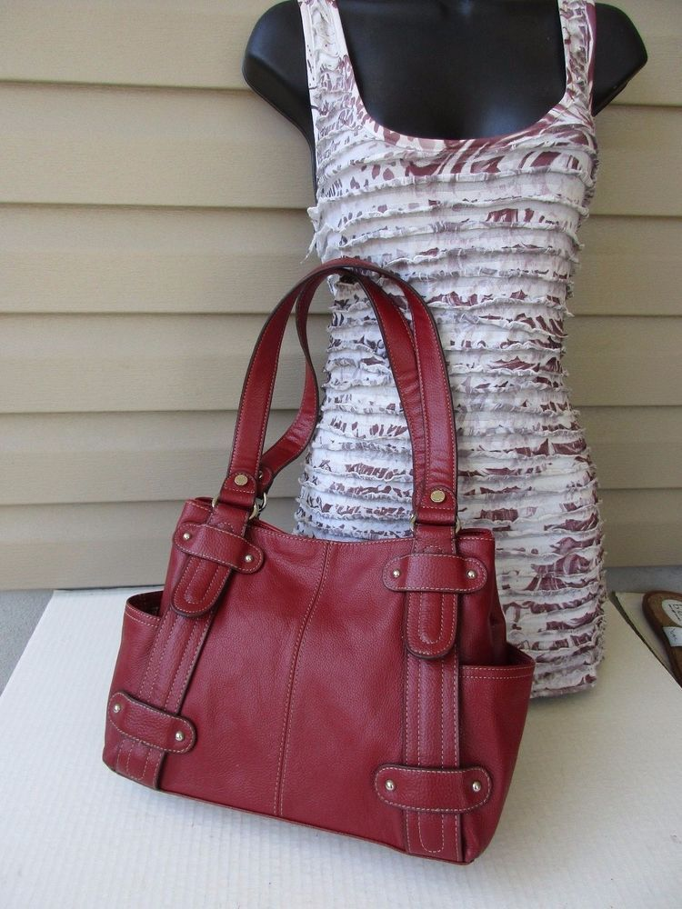 Tignanello Red Pebbled Leather Shoulder Handbag Purse Hobo