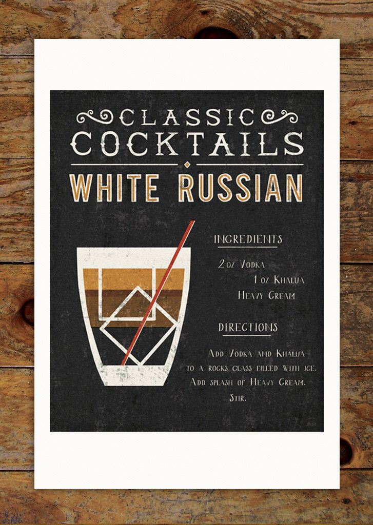 11x14 Classic Cocktails Art Print, White Russian, Drink, Recipe, Kitchen, Retro, Typography, Illustration by groovygravy on Etsy https://www.etsy.com/listing/227708807/11x14-classic-cocktails-art-print-white